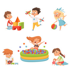Preschool childrens playing in various toys vector