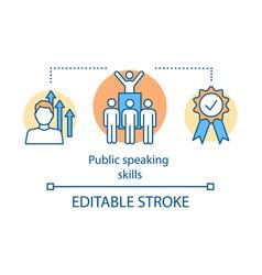 Public speaking skills concept icon vector