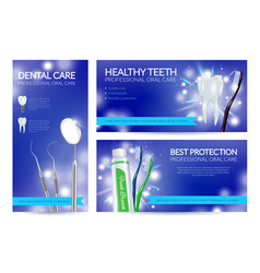 realistic dental banners vector image