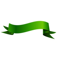 Realistic shiny green ribbon isolated on white vector image