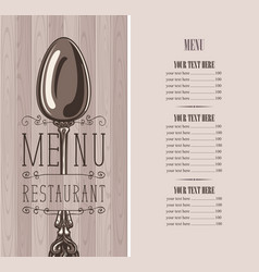restaurant menu with price list and silver spoon vector image
