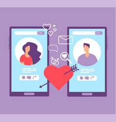 romance online dating loving couple on screens of vector image