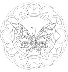 round floral pattern with a butterfly vector image