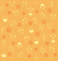 seamless easter pattern with chicks and flowers vector image