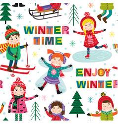 seamless pattern with kids in winter time vector image