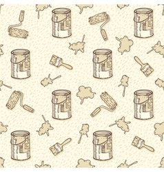 Seamless Pattern with Paintbrushes Roller vector image