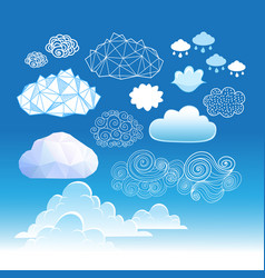 set different graphic clouds vector image