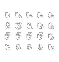 Set heart line icon healthy internal organ vector