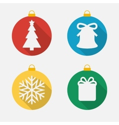Set of Christmas and New Year icons flat icons vector image