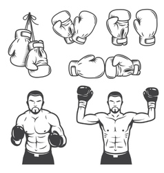 Set vintage boxing emblems vector