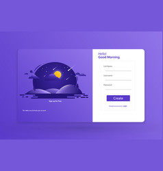Sign up form landing page design template concept vector