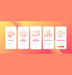 Skin cancer risk factors onboarding mobile app vector