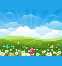 spring flowers meadow landscape vector image