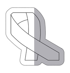 Sticker contour with ribbon symbol of breast vector