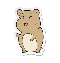 Sticker of a cartoon cute hamster vector