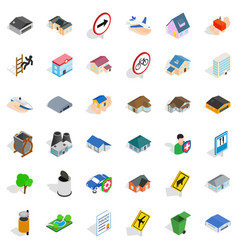 Suburb icons set isometric style vector