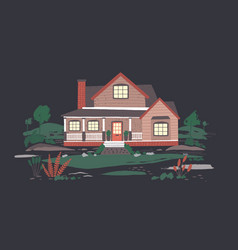summer cottage or mansion with porch surrounded by vector image