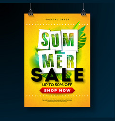 summer sale poster design template with tropical vector image