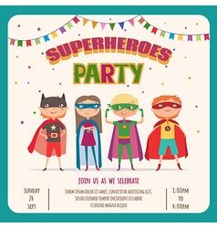 superhero card invitation with group cute kids vector image