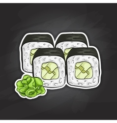 sushi color sketch Avocado roll vector image