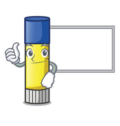 Thumbs up with board glue stick in the cartoon vector
