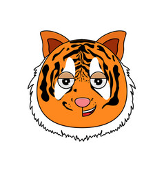tiger face kawaii vector image