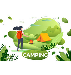 tourist girl camp bonfire vector image