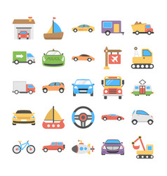 Transport flat icons set vector