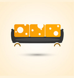 Trendy sofa yellow with white circles vector