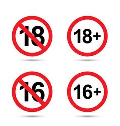 Under eighteen sign sixteen sign vector