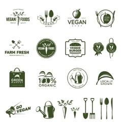 Vegan related vintage badges labels and design vector image