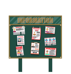 Wanted person paper poster missing announce vector