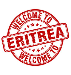 Welcome to eritrea red round vintage stamp vector