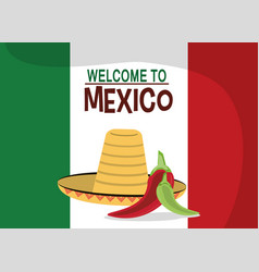 welcome to mexico - flag nation hat vector image