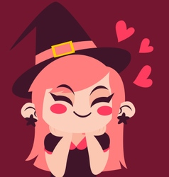 Witch Girl in Love vector image
