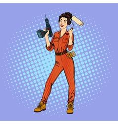 Woman in Uniform Woman Doing Repairs vector