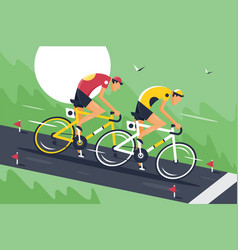 young men in sportswear and bicycle helmet fast vector image