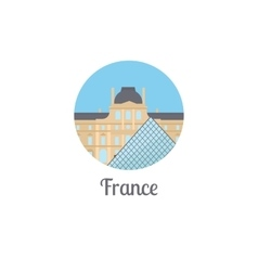 France landmark isolated round icon vector image vector image