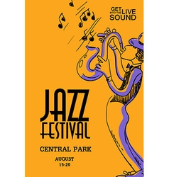 Musical Poster With Saxophone Player vector image