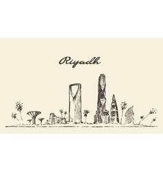 Riyadh skyline drawn sketch vector image vector image