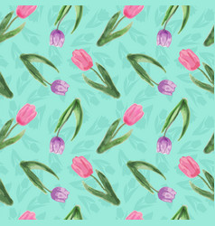 seamless pattern with watercolor tulips vector image