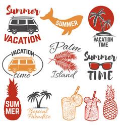 set of summertime emblems palm trees sunglasses vector image