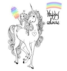 unicorn and princess vector image vector image