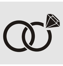 Wedding rings with diamond vector image