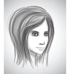 Beauty girl face pencil sketch portrait imitation vector