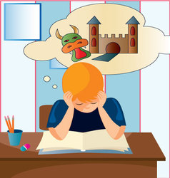 child-reading vector image