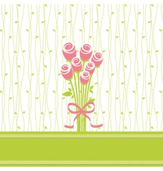Greeting card with rose flowers vector image