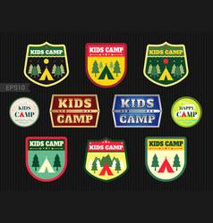 set of kids adventure summer camp emblem or badge vector image vector image