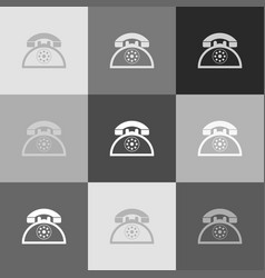 retro telephone sign grayscale version of vector image vector image