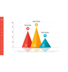 Textured infographic bar chart template with 3 vector